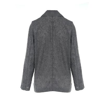 double button linen jacket grey